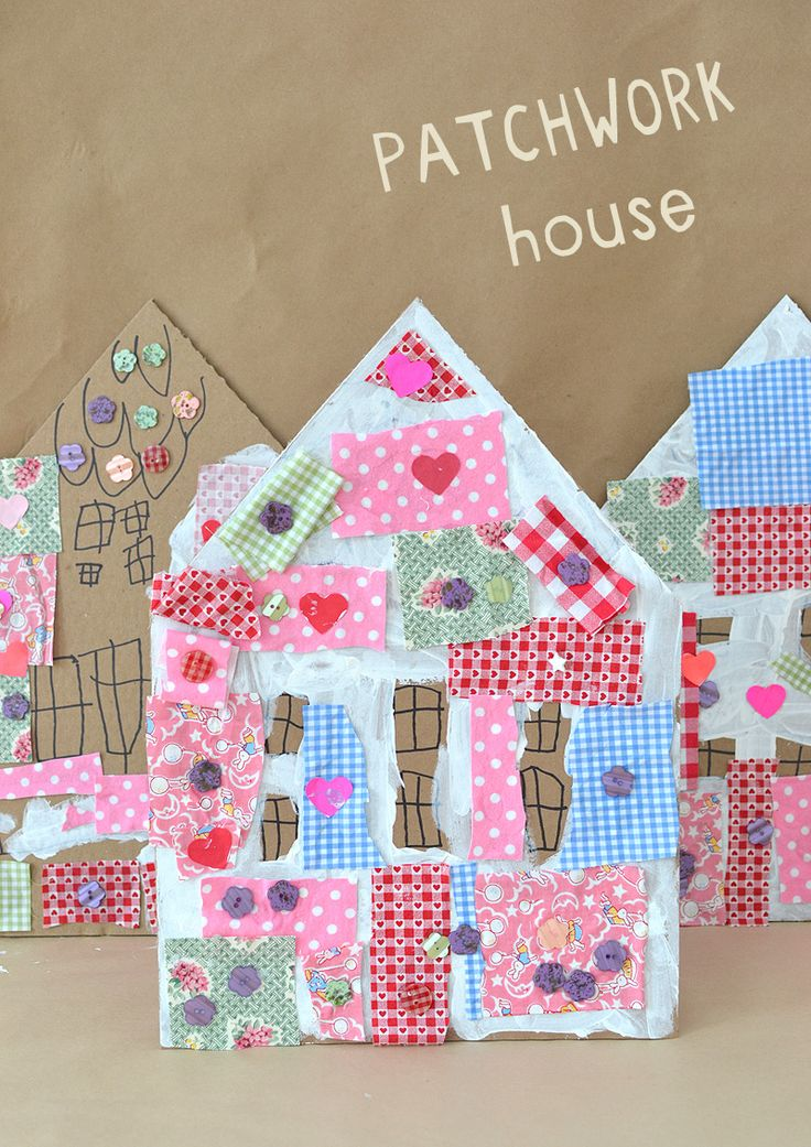 Patchwork Houses with Cardboard and Collage