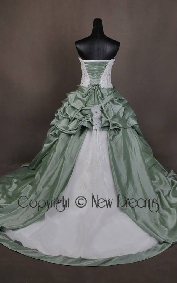 so gorgeous green and ivory wedding dress! new style from yournewdreams.com