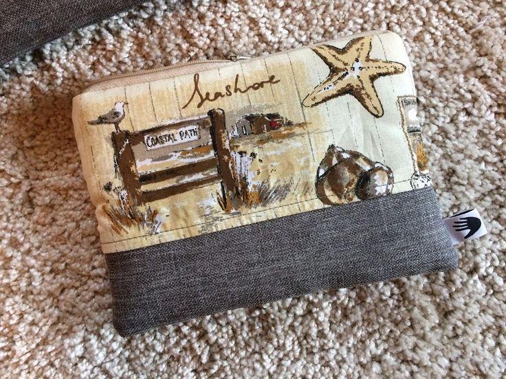 Beauty Case, Kosmetiktasche 18x13 grau beige braun Maritim modern kleine Tasche  | eBay