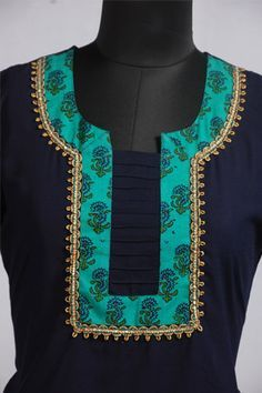 Dark Blue Short Kurti with Yoke Print