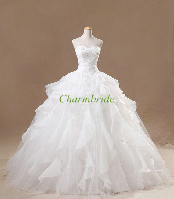 White lace princess wedding dresses,new design customade bridal wedding dress,crystal yarn ball gown sweetheart bridal gowns.