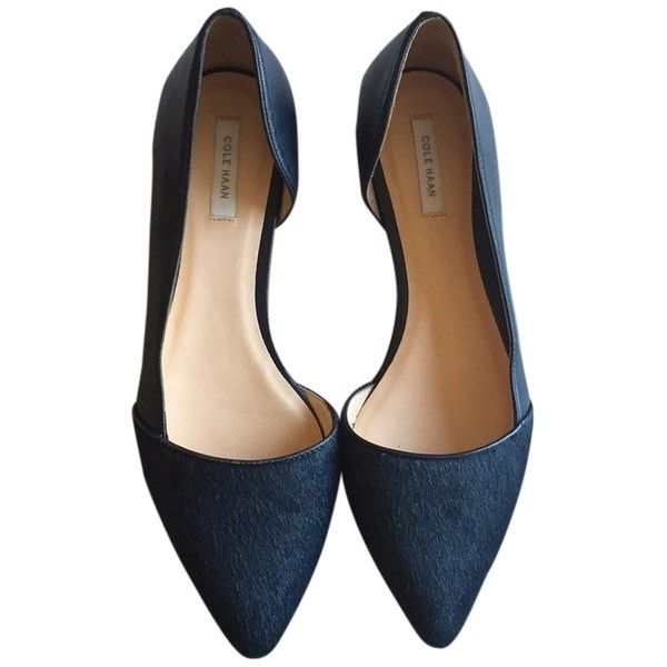 Pre-owned Cole Haan New Navy D'orsay Skimmer Flats (150 CAD) ❤ liked on Polyvore featuring shoes, flats, new navy, dorsay flats, navy flat shoes, wide flats, navy flats e d'orsay flats