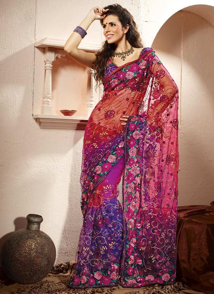 Gorgeous Resham Embroidered Net Saree : Cbazaar