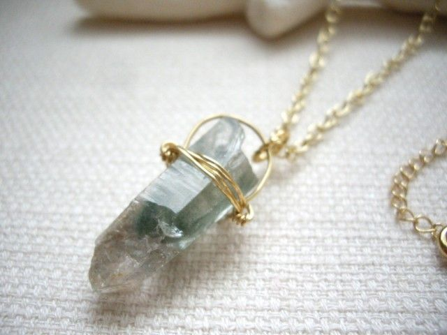 原石ポイント ボヘミアンシック モスクォーツゴールドロングネックレス    - Yoko's Jewelry