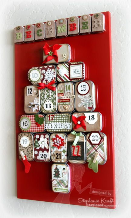 advent calendar using mini altoid tins plus supplies from Taylored Expressions: