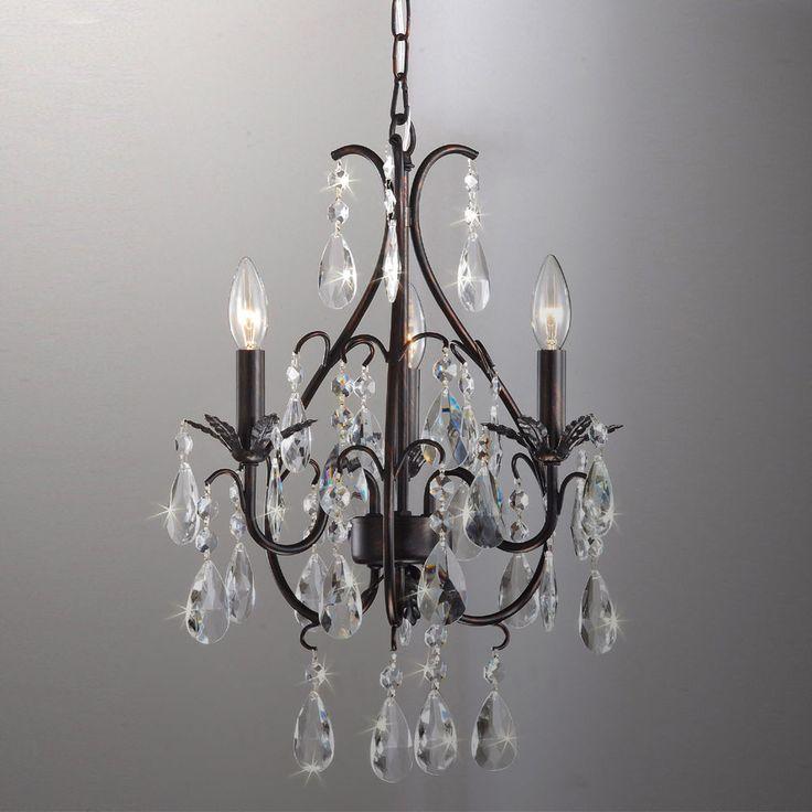 Vintage Crystal Chandelier Antique Bronze Light Fixture
