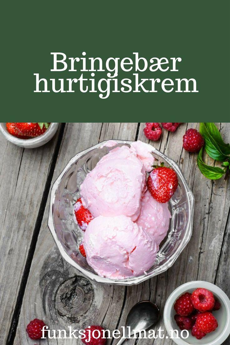 Bringebær hurtigiskrem - Funksjonell Mat | Bringebær iskrem | Sukkerfri iskrem | Sukrin | Sunn dessert | Enkel dessert | Oppskrift sommer | Enkel oppskrift