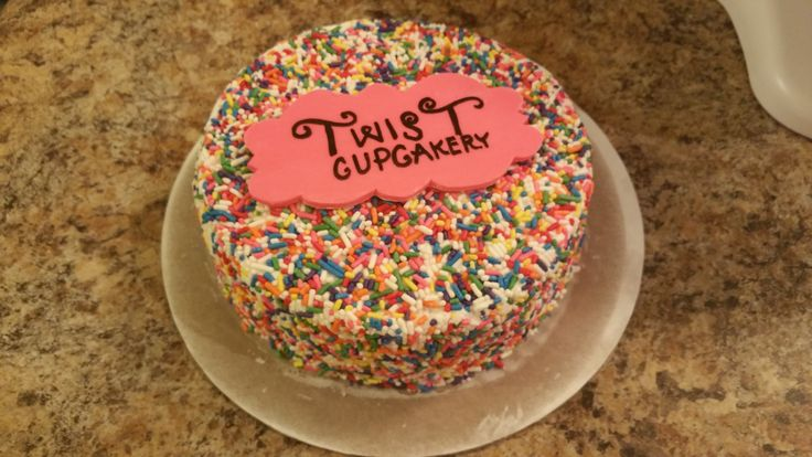Our Born Day Cake! This cake unveiled the new name of our business as Twist Cupcakery, formerly Alexandria's Creations