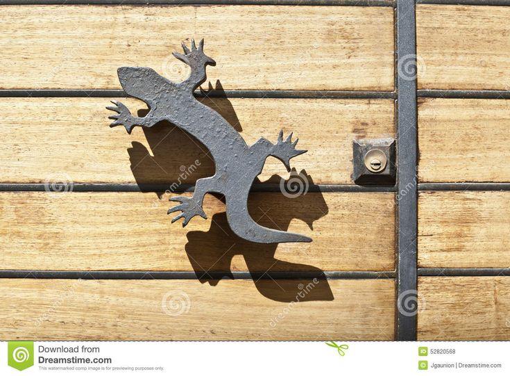 Iron Lizard Handle And Shadow Stock Photo - Image: 52820568