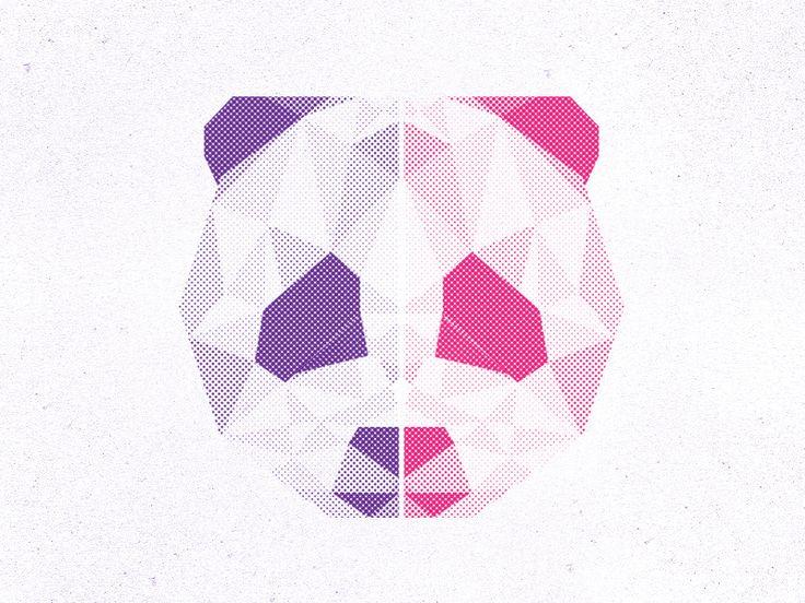 Geometric Halftone Panda by Austin Eidson