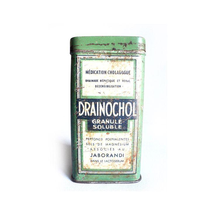 French Medicine Pills Tin, Drainochol, Old Pill Box, Drug Box, Vintage Tin Box, Metallic box, Medical Collection, Prescription Collectible