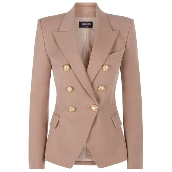 Balmain Double-Breasted Twill Jacket ($1,750) ❤ liked on Polyvore featuring outerwear, jackets, double-breasted jacket, twill jacket, brown jacket, tailored jacket and balmain jacket