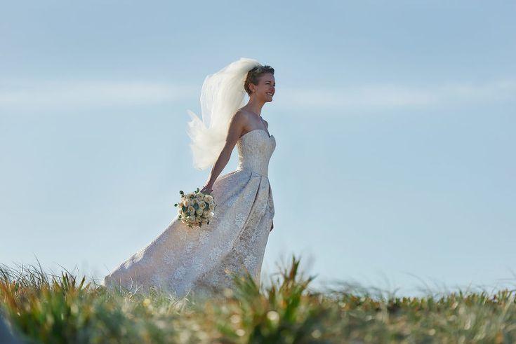 bride in sunshine at nobbys beach