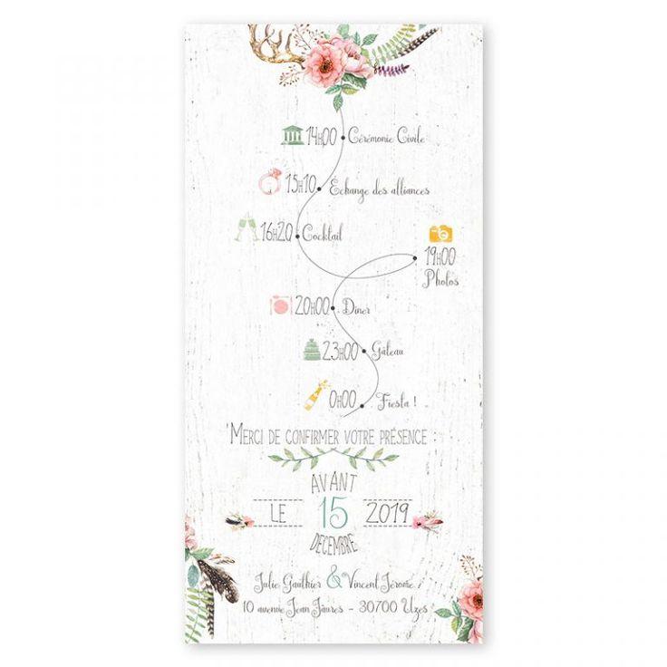 faire-part mariage boheme couronne fleurs plumes gipsy folk programme