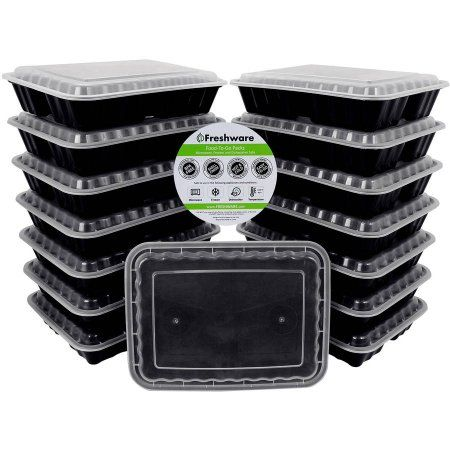 Freshware 15-Pack 3-Compartment Lunch Bento Box Reusable and Microwavable Food Container with Lids, YH-9598, Black