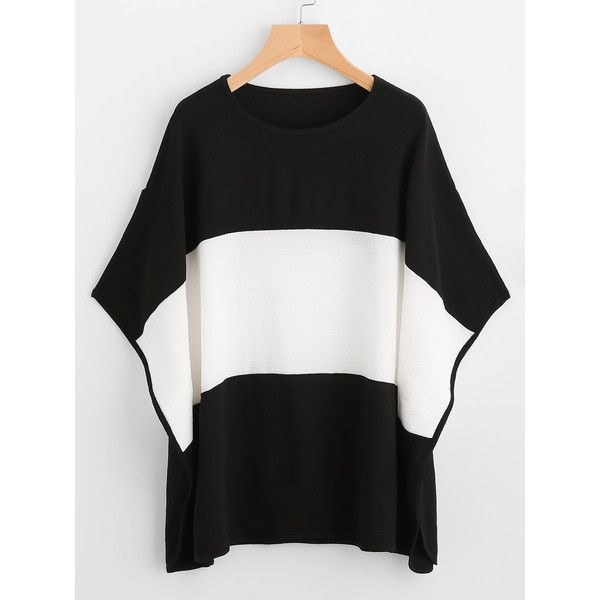 Color Block Wide Striped Batwing Sleeve Tee ($13) ❤ liked on Polyvore featuring tops, t-shirts, block top, wide stripe t shirt, color-block tee, round top and colorblock tee