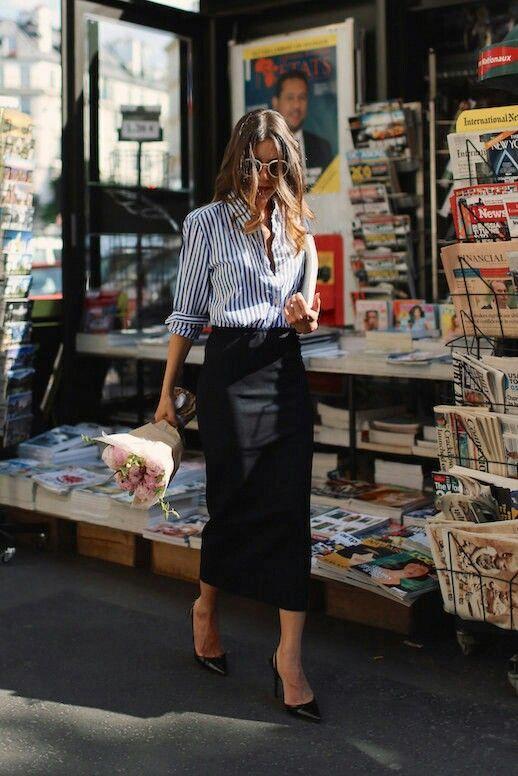 High rise skirt and stripe shirt
