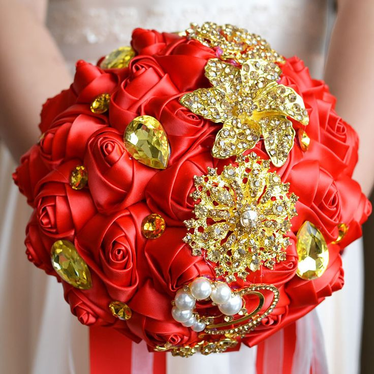 Elegant Customized Bridal Wedding Bouquet With Pearl Beaded Brooch And Silk Roses,Romantic Wedding Colorful Bride 's Bouquet