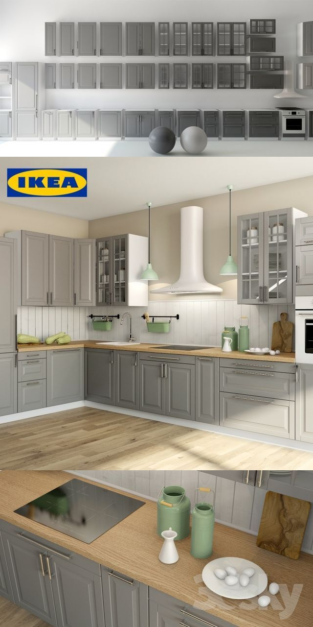 Licious Bodbyn Grey Ikea Cocina Estilo Casa De Campo De Madera
