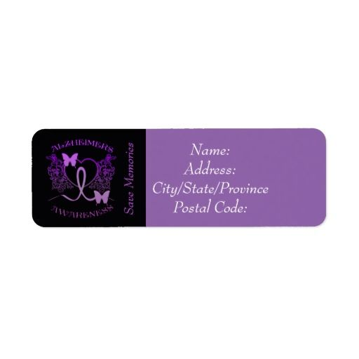 Alzheimers Awareness Purple Butterflies Labels 2 | Customize with your choice of background color.