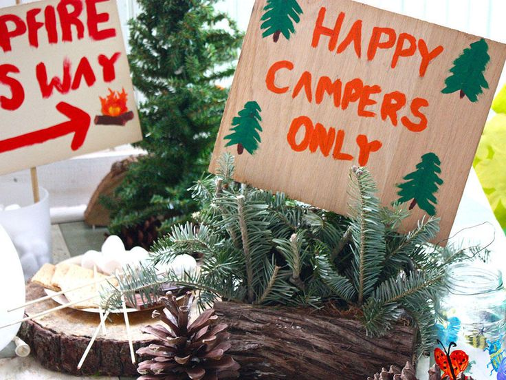 Bring the outdoors inside with a fun camping party. We give you ideas for snacks, games, and decorations.