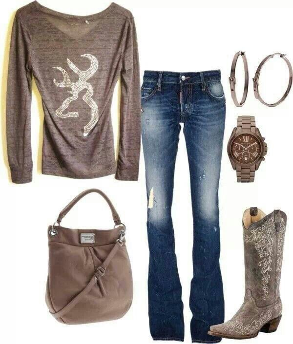 I don't do fancy ass boots, jewelry, or handbags. But I like the jeans and shirt! and I would just wear my ariat's!