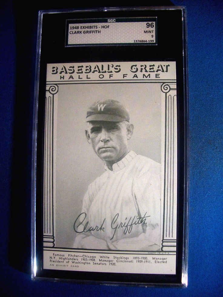 1948 Baseball Great HOF Exhibits Card CLARK GRIFFITH SGC 96 MINT 9  POP ONLY 2