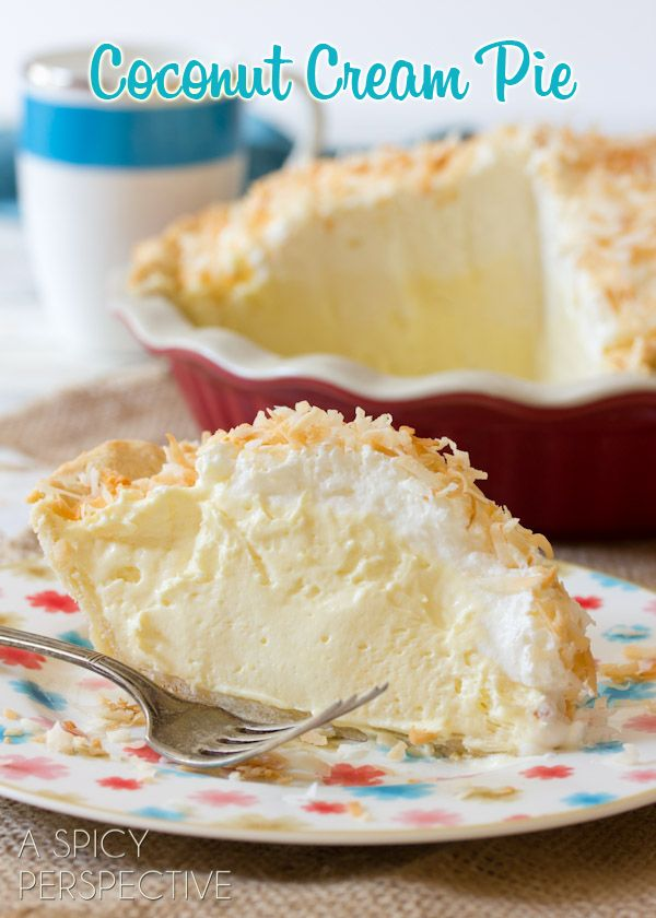 Perfect Coconut Cream Pie Recipe ~ Says: the tang of the cream cheese perfectly balances the sweetness of the coconut filling, and provides an ultra fluffy cream texture