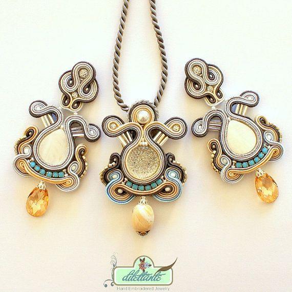 Soutache Pendant- Soutache necklace-Swarovski Crystal Statement Necklace- Turquise Necklace- Soutache set on Etsy, $169.38