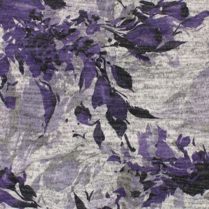 Sweater Knit Print - Purple Floral on Heathered Grey - Distinctive Sewing Supplies