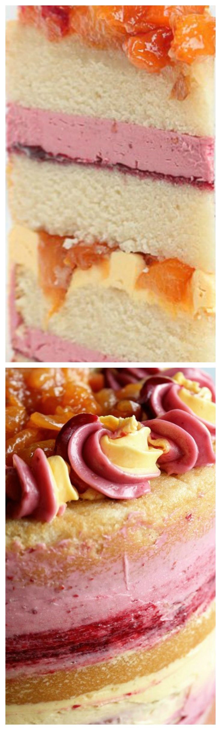 Peach Melba Cake ~ Loaded with peaches and raspberries... Swiss Meringue Buttercream packed with natural flavor.