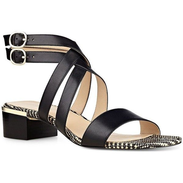 Nine West Yesta Leather Sandals ($52) ❤ liked on Polyvore featuring shoes, sandals, black, strappy leather sandals, leather strap sandals, black leather sandals, leather shoes and black block heel sandals
