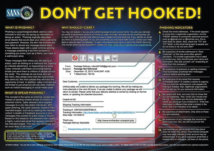 Cyber Security - This poster teaches people how to identify phishing and spear phishing emails. It provides an example of a common phishing email and the most common indicators that it is an attack.