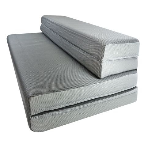 "4"" folding mattress and sofa-style chair. Transportable and perfect for camping, RV's, dorms, or play rooms."