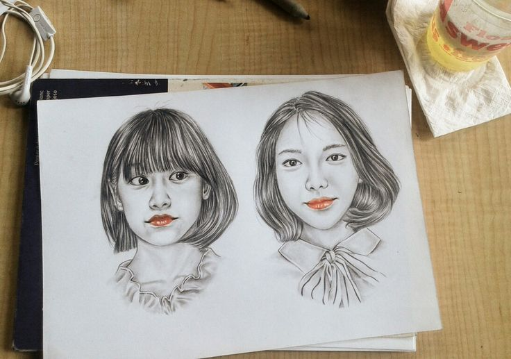 #Short #Hairstyle Pancil on Paper #Watercolorpancil