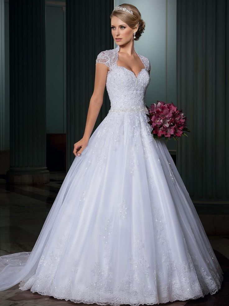 Elegant 2015 White Ball Gown Wedding Dresses Sheer Queen Anne High Neckline Cap Sleeve Backless Lace Overlay Tulle Beaded Belt Bridal Gowns
