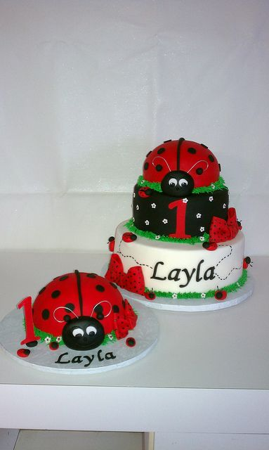 Ladybig First Birthday Cake and matching oversized smash cupcake by Little Sugar Bake Shop, via Flickr