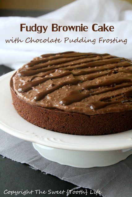 Fudgy Brownie Cake with Chocolate Pudding Frosting (dairy free!) | Re ...