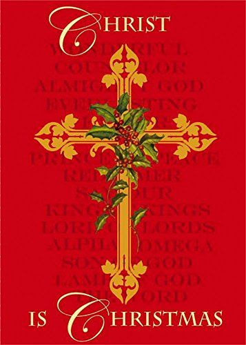 Evergreen Christ is Christmas 125 x 18 Garden Flag  Cross Holly Berries  Red and Gold -- Click on the image for additional details.