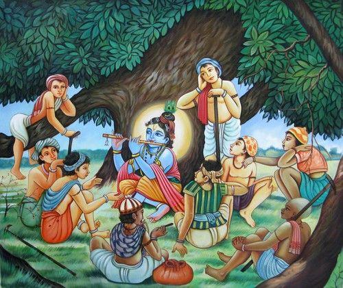 Little Krishna with Friends - 36in X 30in,RAJEAR15_3630,Acrylic Colors