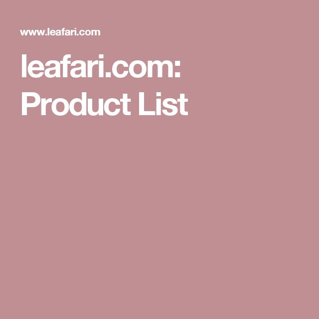 Leafari Product List