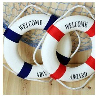 "Free Shipping Mediterranean style 35cm ""welcome aboard"" cotton Lifebuoy  Bar Living Room Decoration Nautical Home Decor"