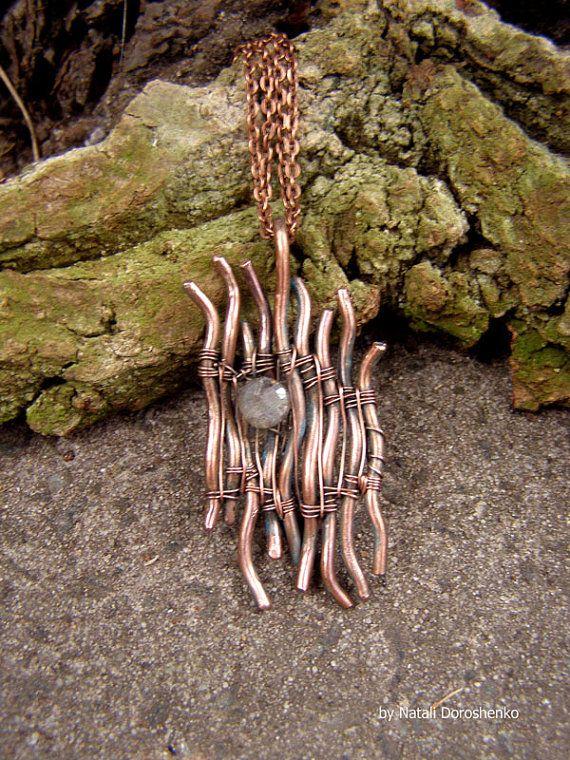 Copper pendant with labradorite   wire wrapped by DorasAccessory