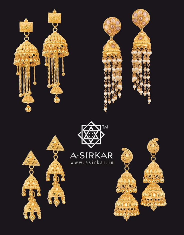 Bahari Little Jhumkas in deep yellow hallmarked 22K gold :   Clockwise from top left :   a) Classic Bell jhumkas with variable chains and a mini-jhumka drop.  b) Polki jhumkis with long pearl spirals.   c) Two-step conventional kalka jhumka.   d) Triangulated double-step small jhumka with a ball at each corner.