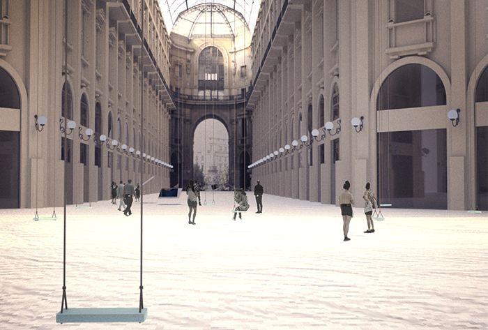 Da lì lo spettatore riesce a percepire il paesaggio delle opere e la galleria riflessa negli specchi sotto un'angolatura improvvisata