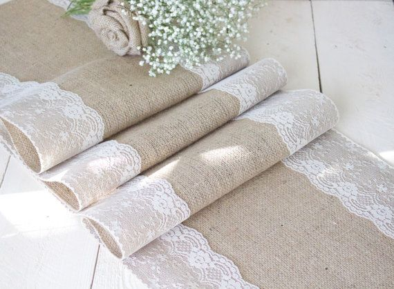 Burlap Table Runner with Natural Lace Rustic Table by Ranchesque