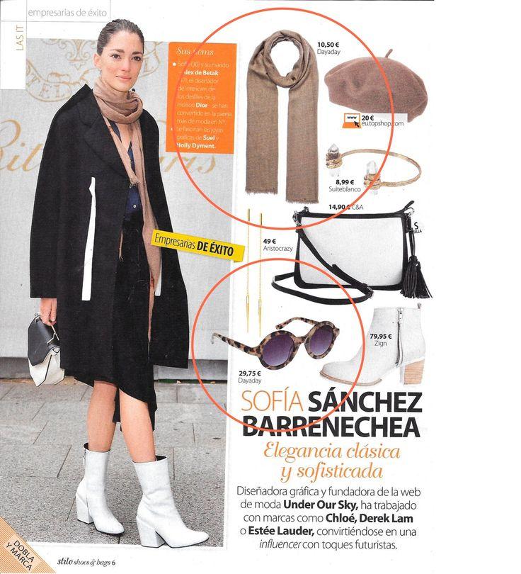 ¡Gracias a la revista Stilo por incluir nuestras gafas carey y nuestro chal camel en su número de noviembre!  Los encontrarás en tiendas y www.dayaday.es