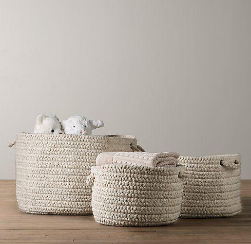 storage braided wool baskets from restoration hardware baby + child