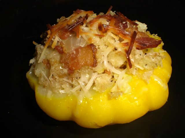 I bought Patty Pan Squash from the Farmer's Market and I have no idea what to do with it ;) Stuffed Patty Pan Squash
