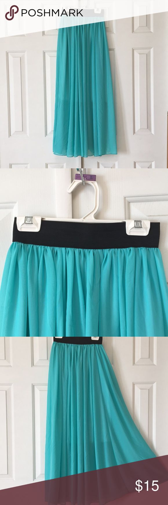 Turquoise Maxi Skirt Super adorable turquoise Maxi skirt (my favorite color btw!!). I bought it and never wore it, but I took the tags off thinking I would (silly me). Super gorgeous, flowy skirt. Would look adorable with heels or flats (up to you). It's a Chinese brand so, while it says large, it may run a bit small. However the band is quite stretchy. Comes from a non-smoking home. Please let me know if you have any questions at all!! Have a great day! Skirts Maxi
